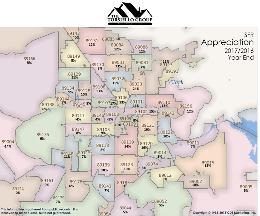 Las Vegas Real Estate Zip Code Appreciation Map The Torsiello Group