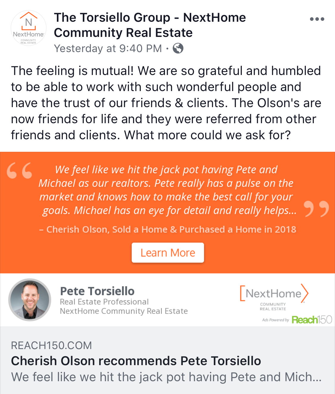 Las Vegas Realtor - Pete & Michael, The Torsiello Group - NextHome - Review Reply