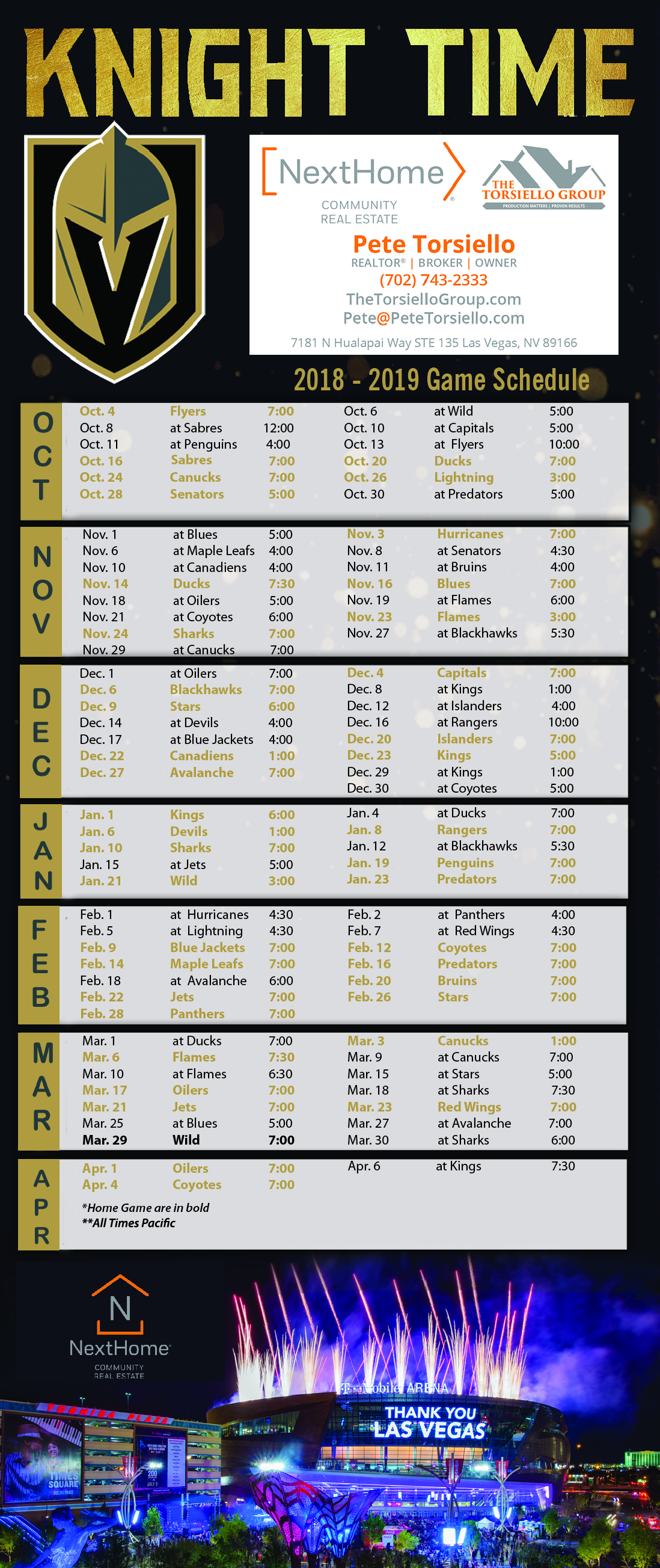 View Larger Image Vegas Knight 2018-2019 Game Schedule Magnet Rack Card  NextHome Torsiello 1decd5ebe